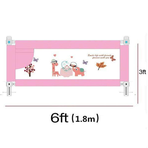 Image of Baby Bed Fence Guards 6ft Pink Baby Bed Fence Rail Guards