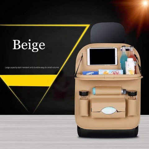 Beige Car Seat Organizer With Tray