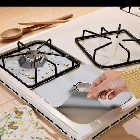 Black 4pcs Gas Stove Protectors | Reusable
