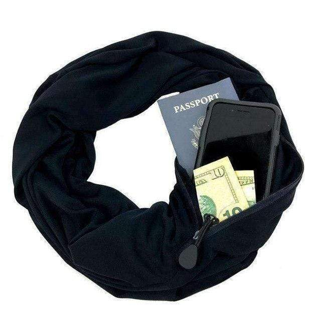 Black Convertible Scarf with Pocket
