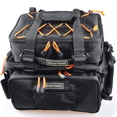 Black Fishing Backpack Tackle Box Multi-Purpose Waterproof Tackle Bag