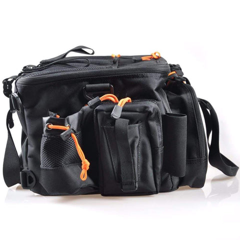 Image of Black Fishing Backpack Tackle Box Multi-Purpose Waterproof Tackle Bag