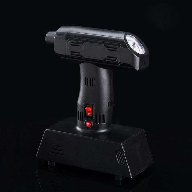Black Portable Tire Inflator Pump with LED Lighting