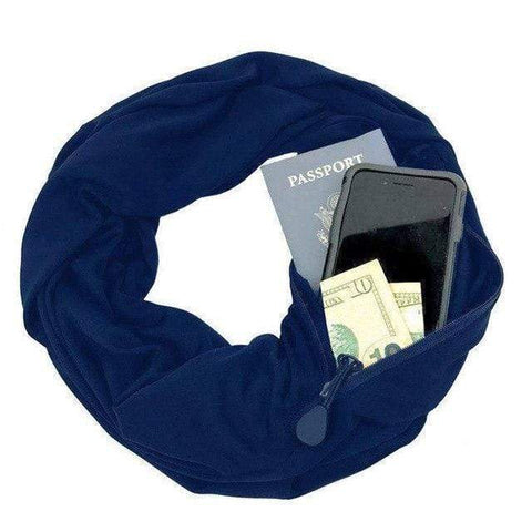 Image of Blue Convertible Scarf with Pocket
