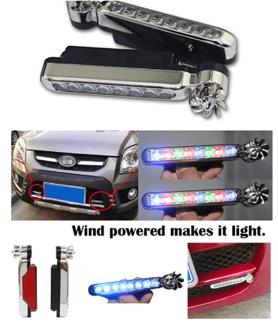 Car Decoration Lights Automatic Wind Power 8 LED Car Light
