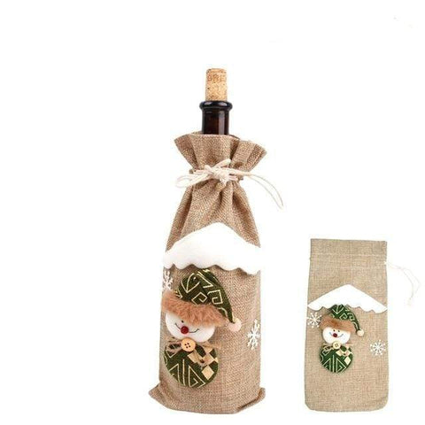 Christmas Wine Holders Beige snowman Christmas Wine Bottle Covers