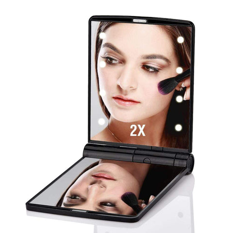 Compact Mirror with Bright LED Lights Black Portable Compact LED Mirror