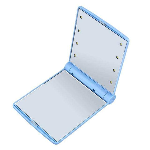 Compact Mirror with Bright LED Lights Blue Portable Compact LED Mirror