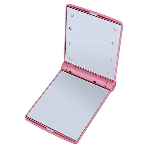 Compact Mirror with Bright LED Lights Pink Portable Compact LED Mirror
