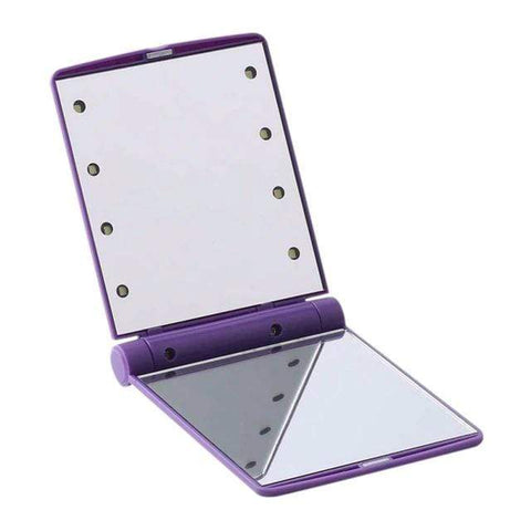 Compact Mirror with Bright LED Lights Purple Portable Compact LED Mirror