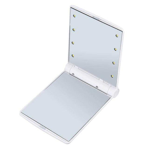 Compact Mirror with Bright LED Lights White Portable Compact LED Mirror