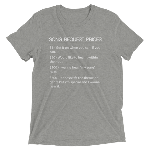 Image of DJ Song List T-shirt Athletic Grey Triblend / XS DJ Song Price List - Tri-blend Soft t-shirt