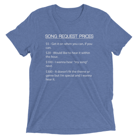 Image of DJ Song List T-shirt Blue Triblend / XS DJ Song Price List - Tri-blend Soft t-shirt