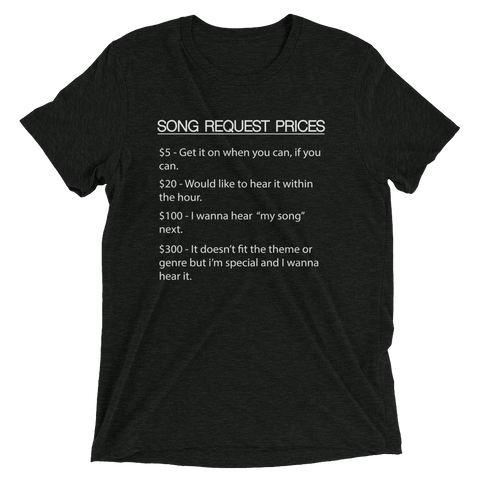 Image of DJ Song List T-shirt Charcoal-Black Triblend / XS DJ Song Price List - Tri-blend Soft t-shirt