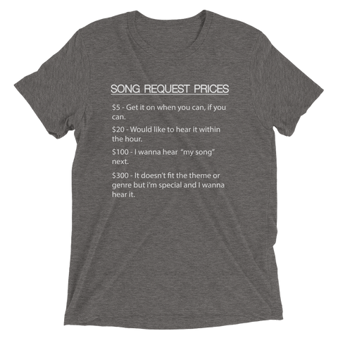 Image of DJ Song List T-shirt Grey Triblend / XS DJ Song Price List - Tri-blend Soft t-shirt