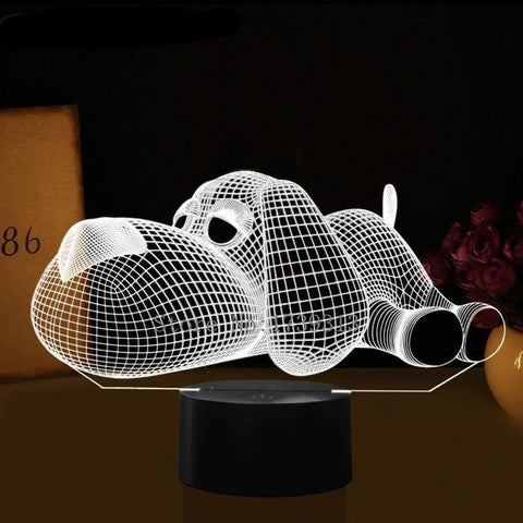 Image of Dog 3D Nightlight Nightlamp Kids Doggy 3D Visual LED Multicolor Night light