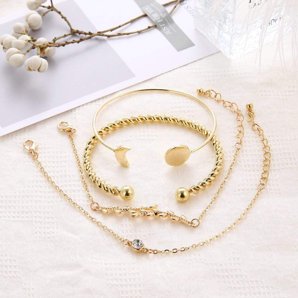 Gold 4 Pc Multilayer Adjustable Open Bracelet