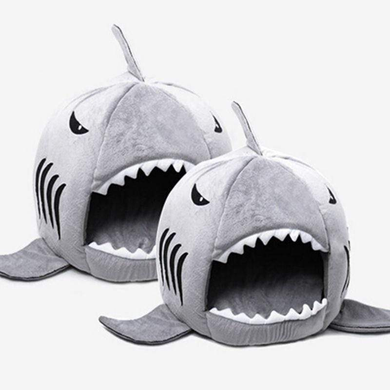 Gray / S Shark Pet Bed