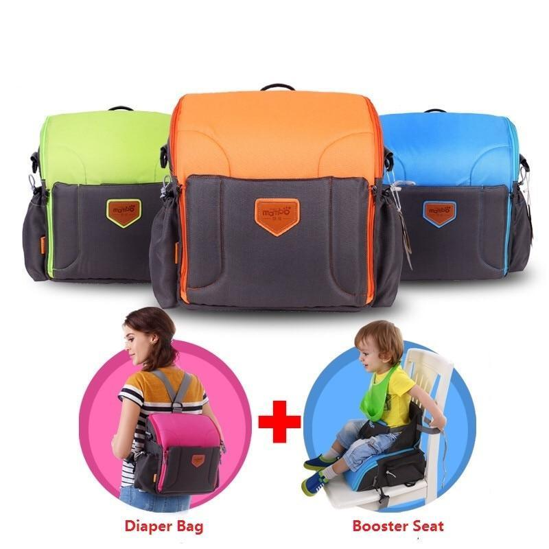 green 2 IN 1 Portable baby Booster Seats And Diaper Bag
