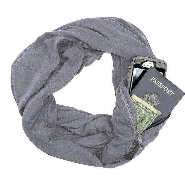 Grey Convertible Scarf with Pocket