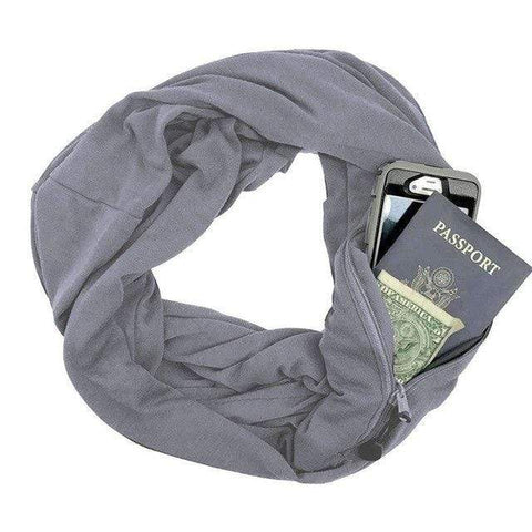 Image of Grey Convertible Scarf with Pocket