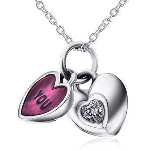 2 Pieces Heart Shape Pendant Necklace
