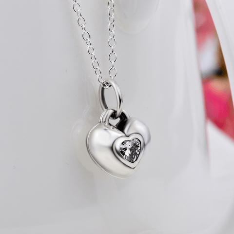 Household Pendant 925 2 Pieces Heart Shape Pendant Necklace 2 Pieces Heart Shape Pendant Necklace