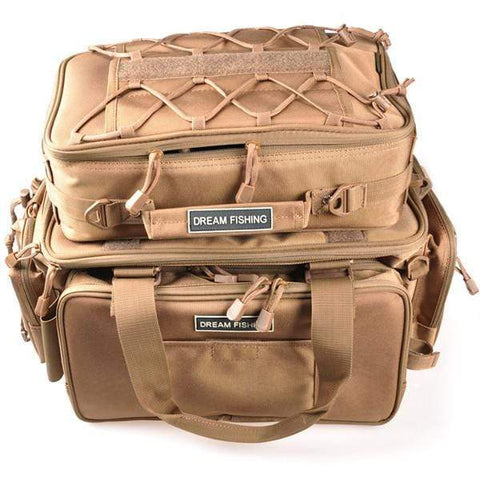 Image of Khaki Fishing Backpack Tackle Box Multi-Purpose Waterproof Tackle Bag