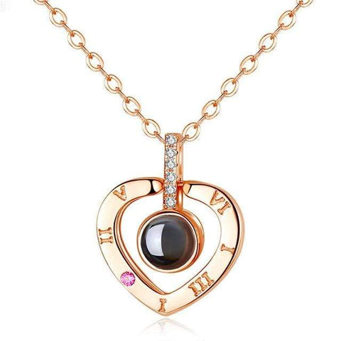 "Image of Memory Of Love Necklace heart rose gold Memory Love Necklace (""I Love You"" in 100 languages)"