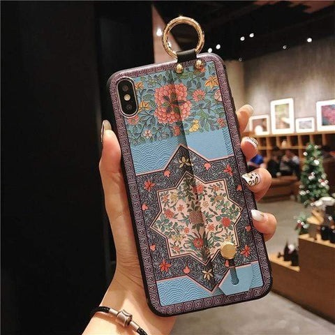 Mosaic vintage iphone case IK21-06WD8JHua / For iphone 6 6s Vintage iPhone Cases With Strap
