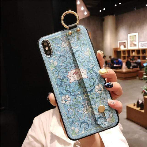 Image of Mosaic vintage iphone case IK21-06WDLotusLan / For iphone 6 6s Vintage iPhone Cases With Strap