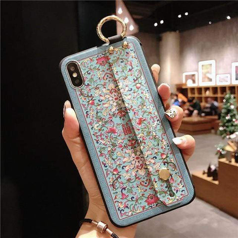 Image of Mosaic vintage iphone case IK21-07WD2XiHua / For iphone 6 6s Vintage iPhone Cases With Strap