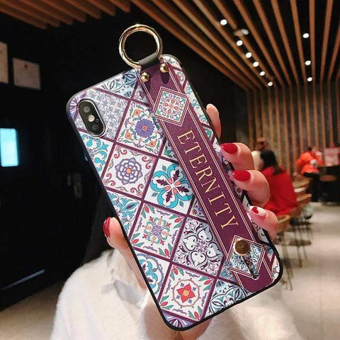 Image of Mosaic vintage iphone case IK21-11WDGonGFang / For iphone 6 6s Vintage iPhone Cases With Strap