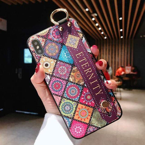 Image of Mosaic vintage iphone case IK21-11WDGonGYuan / For iphone 6 6s Vintage iPhone Cases With Strap