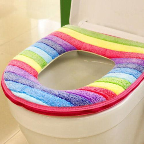 Image of Rainbow Seat Cover Pink Rainbow Toilet Seat Cover