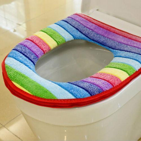 Image of Rainbow Seat Cover Red Rainbow Toilet Seat Cover