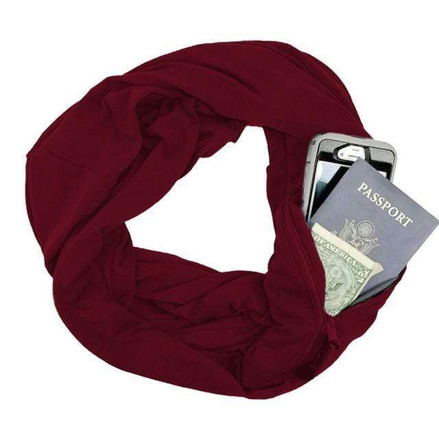 Red Convertible Scarf with Pocket