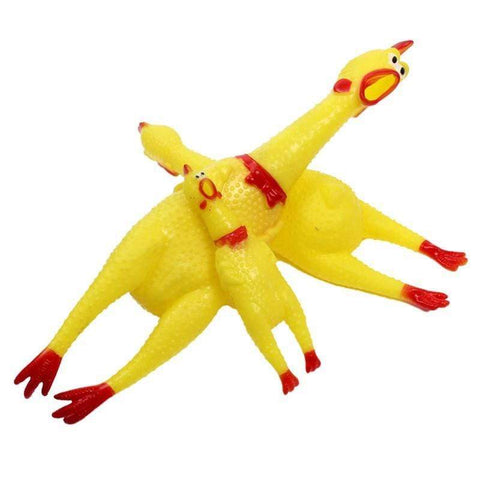 Image of rubber chicken yellow / 7inch Rubber Chicken Gag Toy