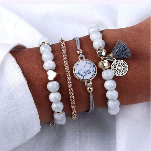 Image of S362 4 Pc Multilayer Adjustable Open Bracelet
