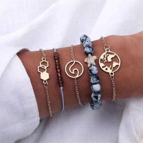 Image of S367 4 Pc Multilayer Adjustable Open Bracelet