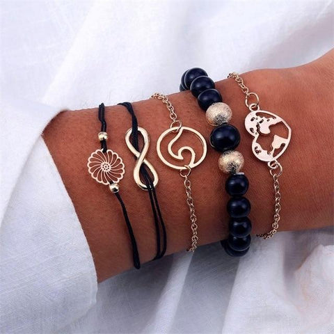 Image of S374 4 Pc Multilayer Adjustable Open Bracelet