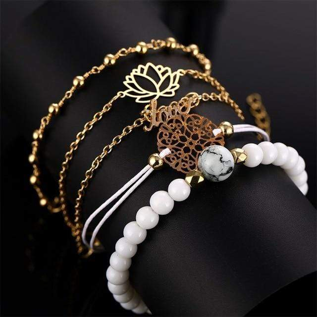 S382 4 Pc Multilayer Adjustable Open Bracelet