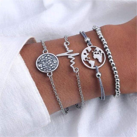 Image of Sliver 2 4 Pc Multilayer Adjustable Open Bracelet