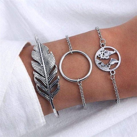 Image of Sliver 3 4 Pc Multilayer Adjustable Open Bracelet