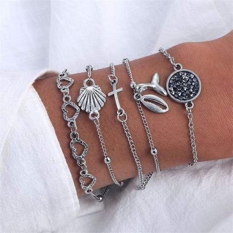 Image of Sliver 6 4 Pc Multilayer Adjustable Open Bracelet