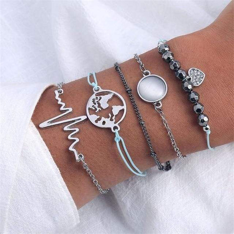 Image of Sliver 7 4 Pc Multilayer Adjustable Open Bracelet