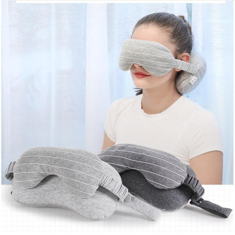 Image of Travel Mask And Pillow Dark Gray Sleep Eye Mask And Travel Pillow