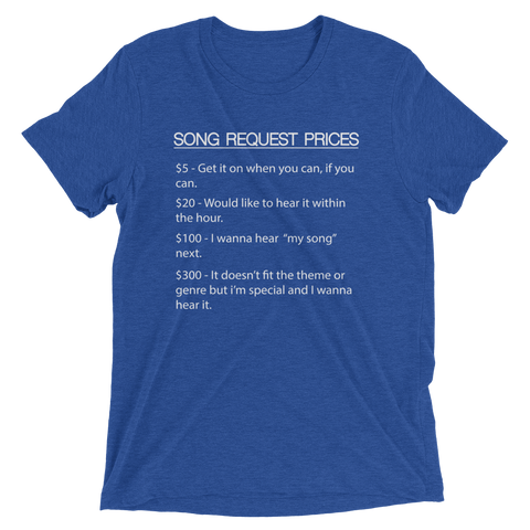 Image of True Royal Triblend / XS DJ Song Price List - Tri-blend Soft t-shirt