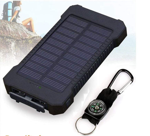 Image of USB Dual Solar Charger United States / Black Solar Powered Phone Charger Dual USB