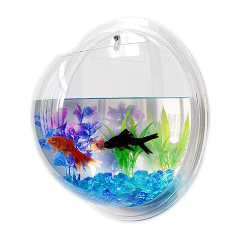 Image of Wall Mounted Fish Bowl Tank Mirror Back / 15cm Wall Mounted Fish Bowl Tank